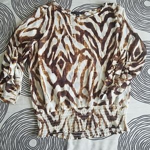 Fever Animal Print Blouse Size Large